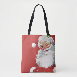 Vintage Christmas, Jolly Santa Claus Winking Tote Bag