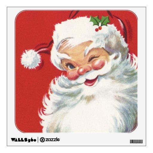 Vintage christmas santa claus room sticker zazzle