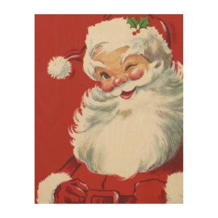 vintage christmas jolly santa claus winking wood wall decor - Vintage Christmas Wall Decor
