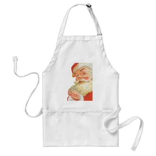 Vintage Christmas, Jolly Santa Claus with a Secret Adult Apron