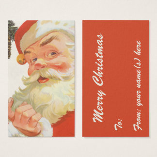 Vintage Christmas, Jolly Santa Claus with a Secret Business Card