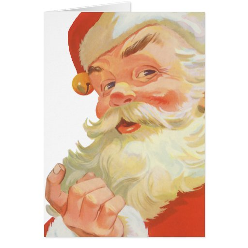 Vintage Christmas, Jolly Santa Claus with a Secret Greeting Cards
