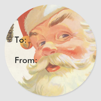 Vintage Christmas, Jolly Santa Claus with a Secret Classic Round Sticker