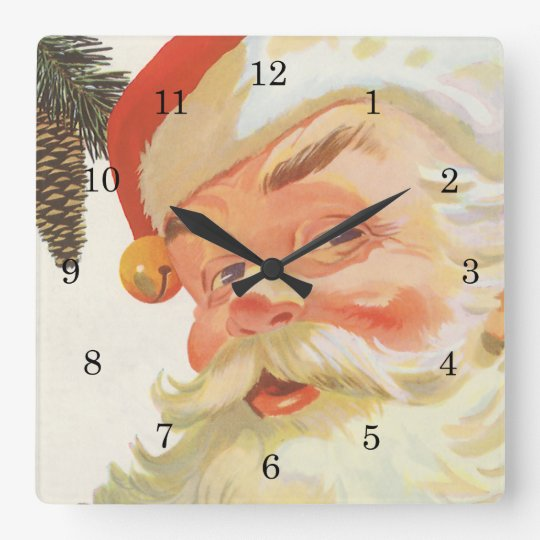 Vintage Christmas, Jolly Santa Claus with a Secret Square Wall Clock