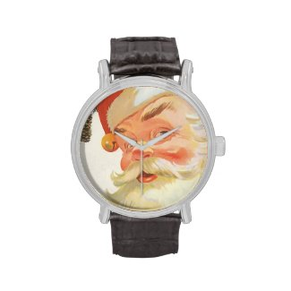 Vintage Christmas, Jolly Santa Claus with a Secret Wrist Watch