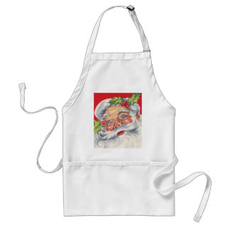 Vintage Christmas, Jolly Santa Claus with His Hat Adult Apron