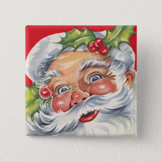 Vintage Christmas, Jolly Santa Claus with His Hat Button