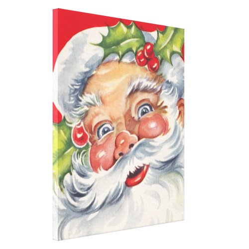 Vintage Christmas, Jolly Santa Claus with His Hat Canvas Print