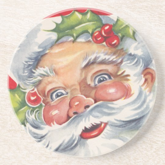 Vintage Christmas, Jolly Santa Claus with His Hat Coaster