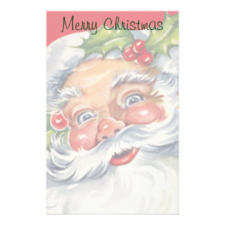 Vintage Christmas, Jolly Santa Claus with His Hat Stationery