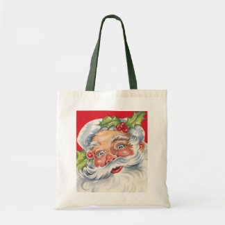 Vintage Christmas, Jolly Santa Claus with Holly Tote Bags