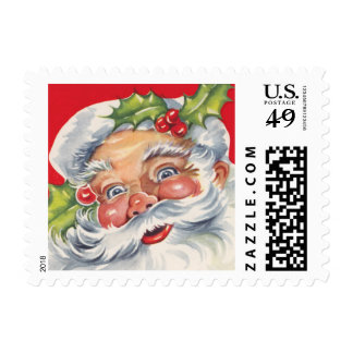Vintage Christmas, Jolly Santa Claus with Holly Postage