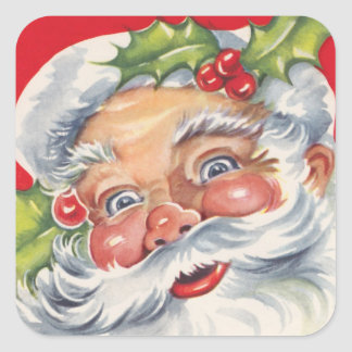 Vintage Christmas, Jolly Santa Claus with Holly Square Stickers