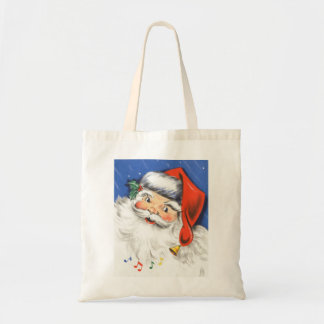 Vintage Christmas, Jolly Santa Claus with Music Tote Bag