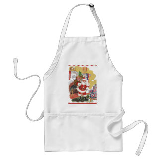 Vintage Christmas, Jolly Santa Claus with Presents Adult Apron
