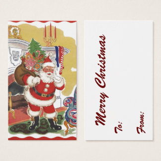 Vintage Christmas, Jolly Santa Claus with Presents Business Card