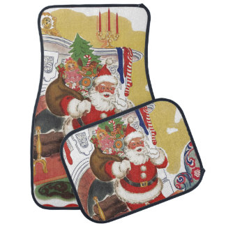 Vintage Christmas, Jolly Santa Claus with Presents Car Floor Mat