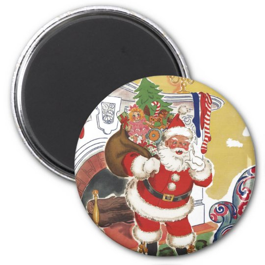 Vintage Christmas, Jolly Santa Claus with Presents Magnet