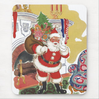 Vintage Christmas, Jolly Santa Claus with Presents Mouse Pad