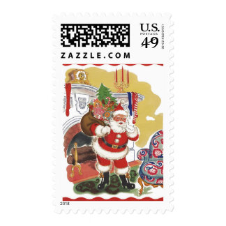 Vintage Christmas, Jolly Santa Claus with Presents Postage