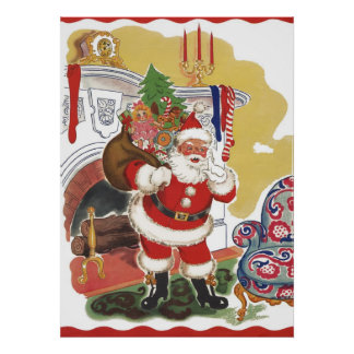Vintage Christmas, Jolly Santa Claus with Presents Poster