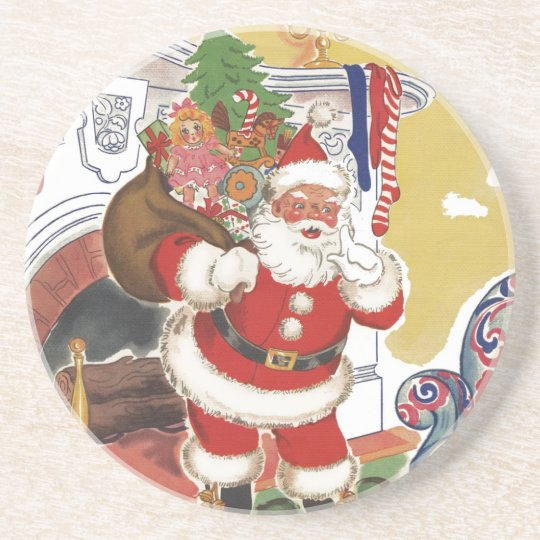 Vintage Christmas, Jolly Santa Claus with Presents Sandstone Coaster