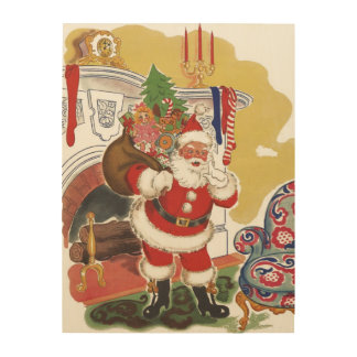 Vintage Christmas, Jolly Santa Claus with Presents Wood Print