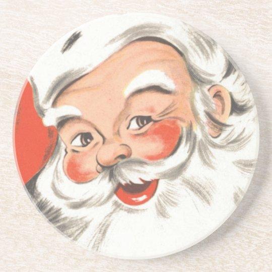 Vintage Christmas, Jolly Santa Claus with Smile Coaster