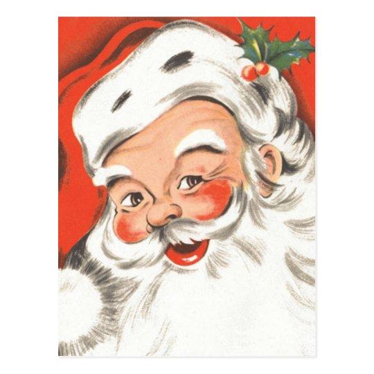 Vintage Christmas, Jolly Santa Claus with Smile Postcard