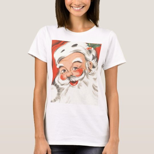 Vintage Christmas, Jolly Santa Claus with Smile T-Shirt
