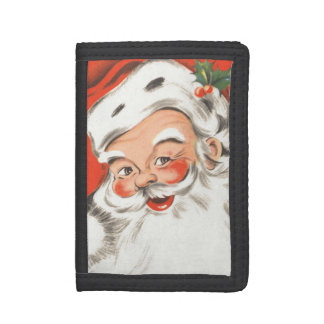 Vintage Christmas, Jolly Santa Claus with Smile Trifold Wallet