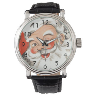 Vintage Christmas, Jolly Santa Claus with Smile Wrist Watch