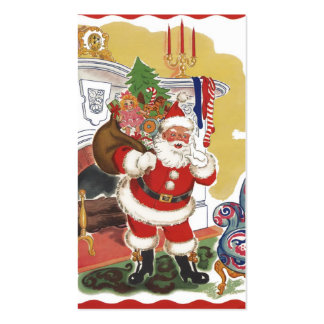 Vintage Christmas, Jolly Santa Claus with Toys Business Card Templates