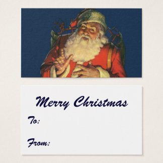 Vintage Christmas, Jolly Santa Claus with Toys Business Card