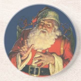 Vintage Christmas, Jolly Santa Claus with Toys Beverage Coasters