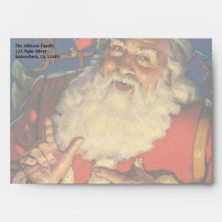 Vintage Christmas, Jolly Santa Claus with Toys Envelopes
