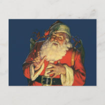 Vintage Christmas, Jolly Santa Claus with Toys Holiday Postcard