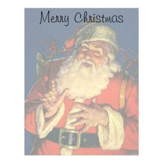 Vintage Christmas, Jolly Santa Claus with Toys Letterhead