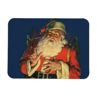 Vintage Christmas, Jolly Santa Claus with Toys Magnet