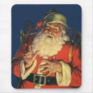 Vintage Christmas, Jolly Santa Claus with Toys Mousepads
