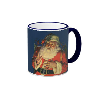 Vintage Christmas, Jolly Santa Claus with Toys Ringer Coffee Mug