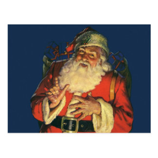 Vintage Christmas, Jolly Santa Claus with Toys Postcard