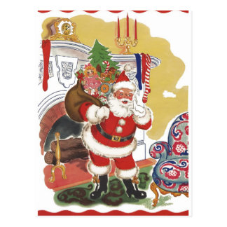 Vintage Christmas, Jolly Santa Claus with Toys Postcard