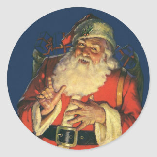 Vintage Christmas, Jolly Santa Claus with Toys Round Stickers