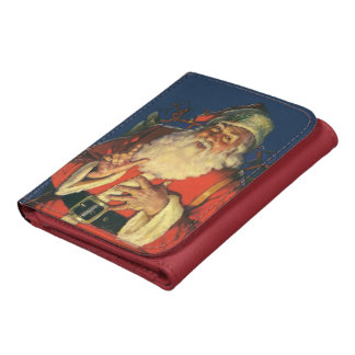 Vintage Christmas, Jolly Santa Claus with Toys Leather Trifold Wallet