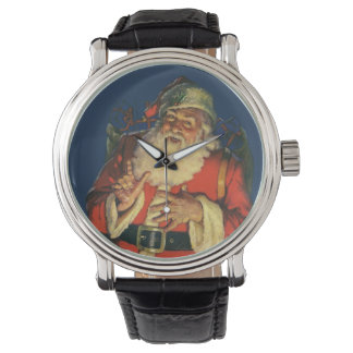 Vintage Christmas, Jolly Santa Claus with Toys Wrist Watch
