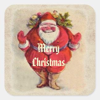 Vintage Christmas Jolly Santa Square Sticker