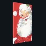 "Vintage Christmas, Jolly Winking Santa Claus Canvas Print<br><div class=""desc"">Vintage illustration Christmas holiday design featuring a happy,  jolly Santa Claus wearing a hat and winking as if he has a secret. Ho,  ho,  ho,  Merry Christmas!</div>"