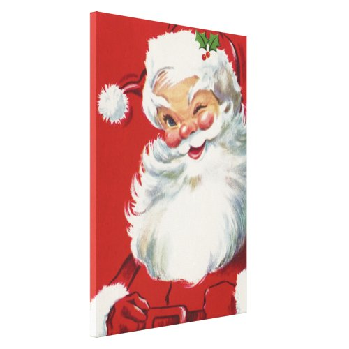 Vintage Christmas, Jolly Winking Santa Claus Canvas Print
