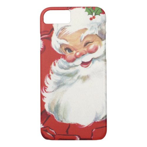 Vintage Christmas Jolly Winking Santa Claus iPhone 87 Case